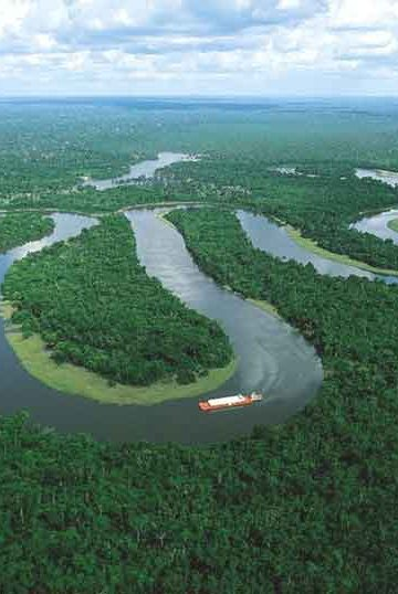 Aerial shot of winding Amazon river