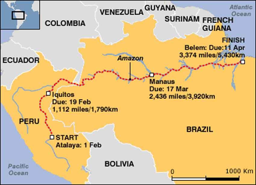 Martin strel amazon river route